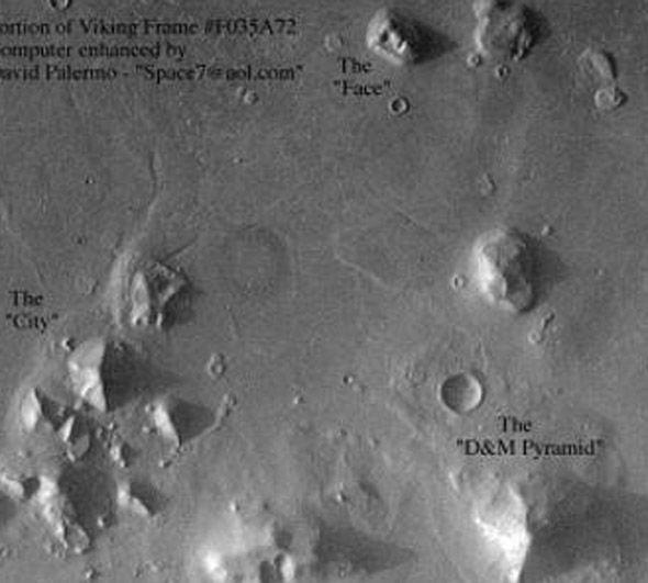 Can you spot the 'pyramid'? Photo credit: Express/NASA-YouTube-Paranormal Crucible