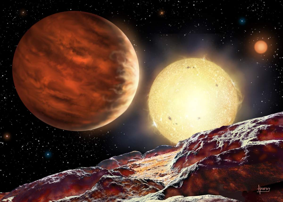 Artist rendition of Tom's newly discovered planet, WASP-142b Photo credit: HARDY/Keele University